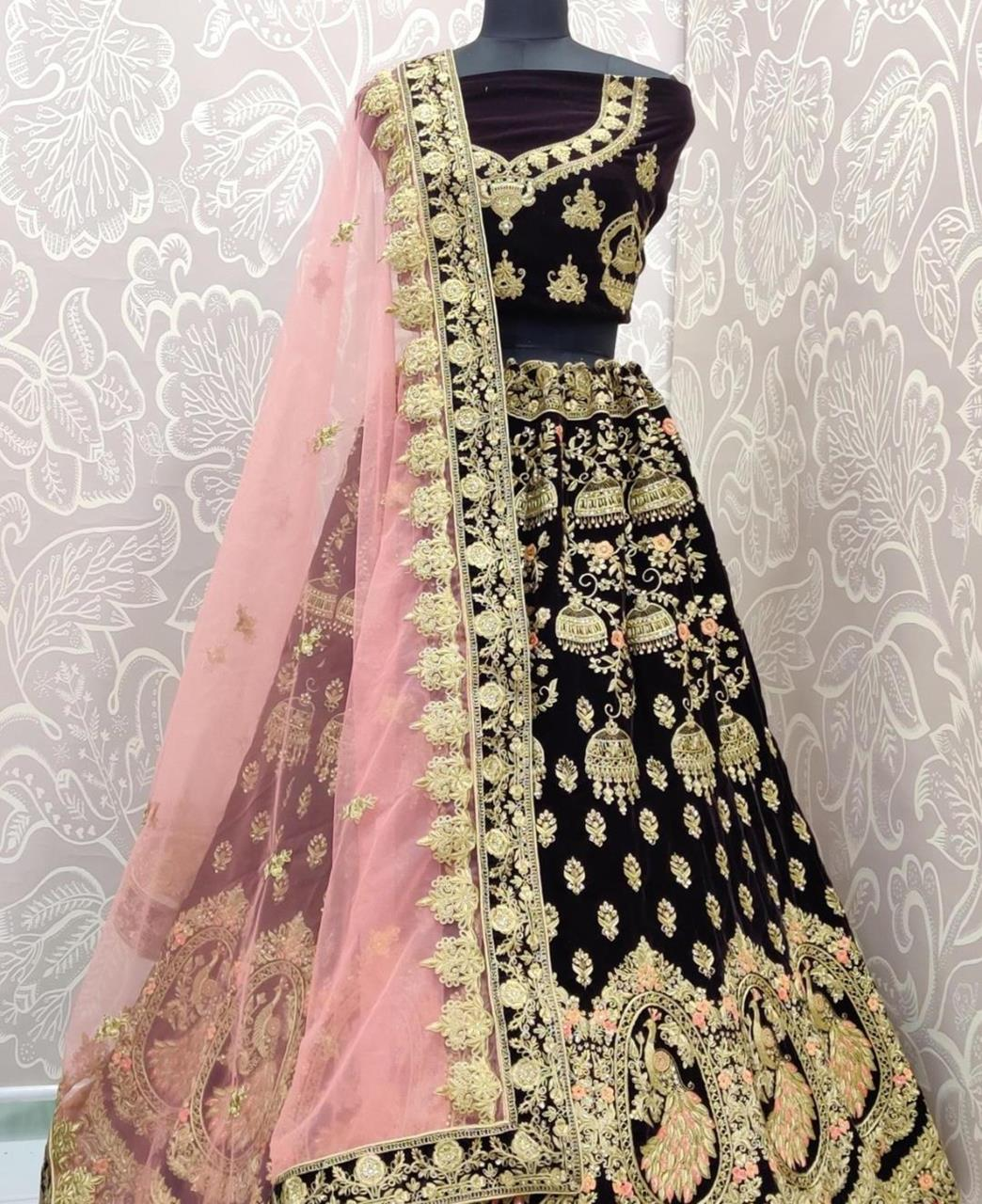 Stone Work Net Lehenga in Dark Purple