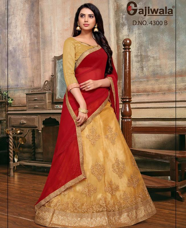 Embroidered Satin Gold Circular Lehenga Choli