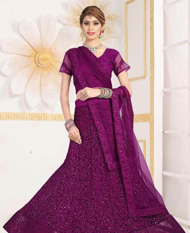 Satin Lehenga in Purple