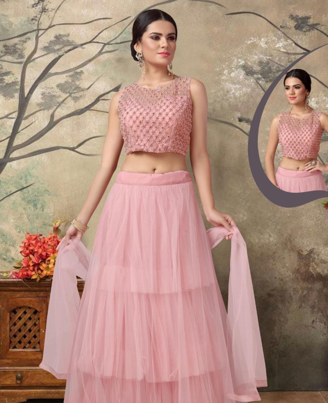 Net Lehenga in Light Pink