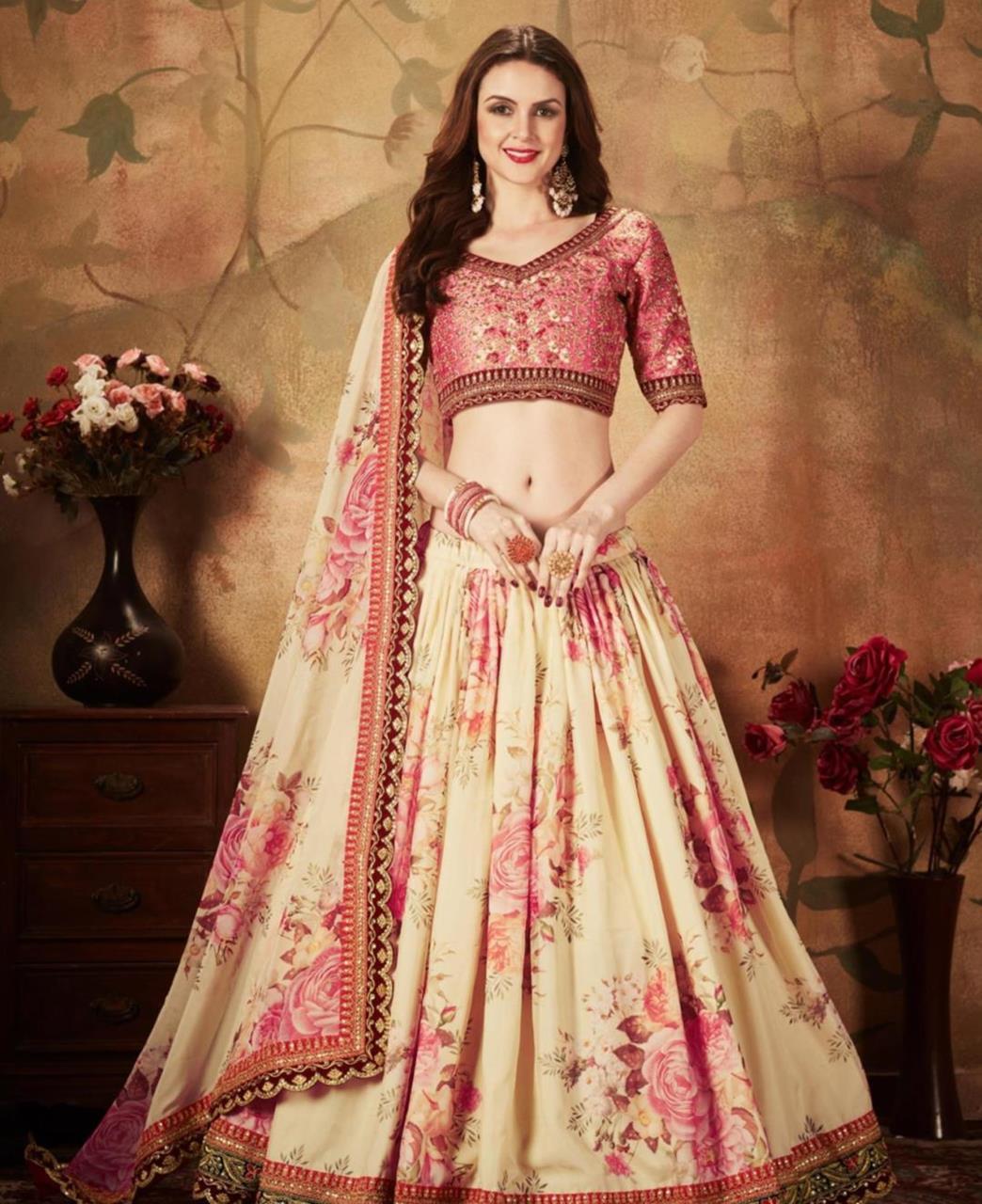 Printed Silk Lehenga in Pink