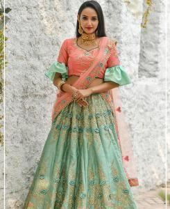 Resham Silk Lehenga in Green