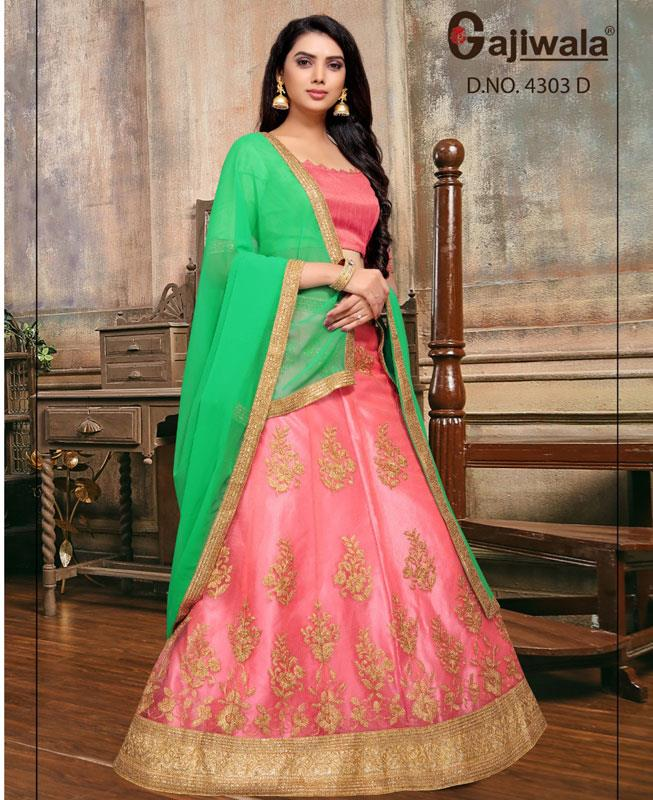 Embroidered Satin Pink Circular Lehenga Choli