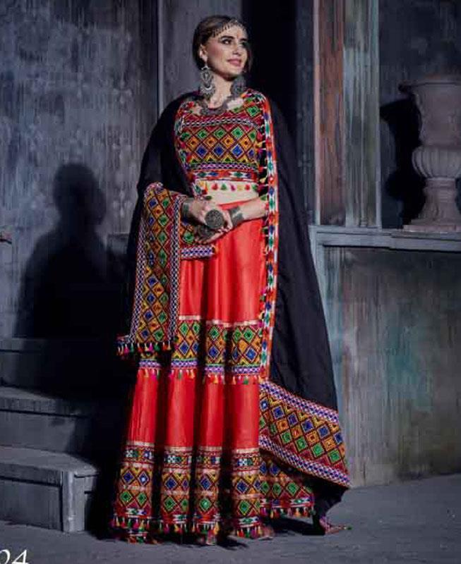Embroidered Cotton Red Circular Lehenga Choli