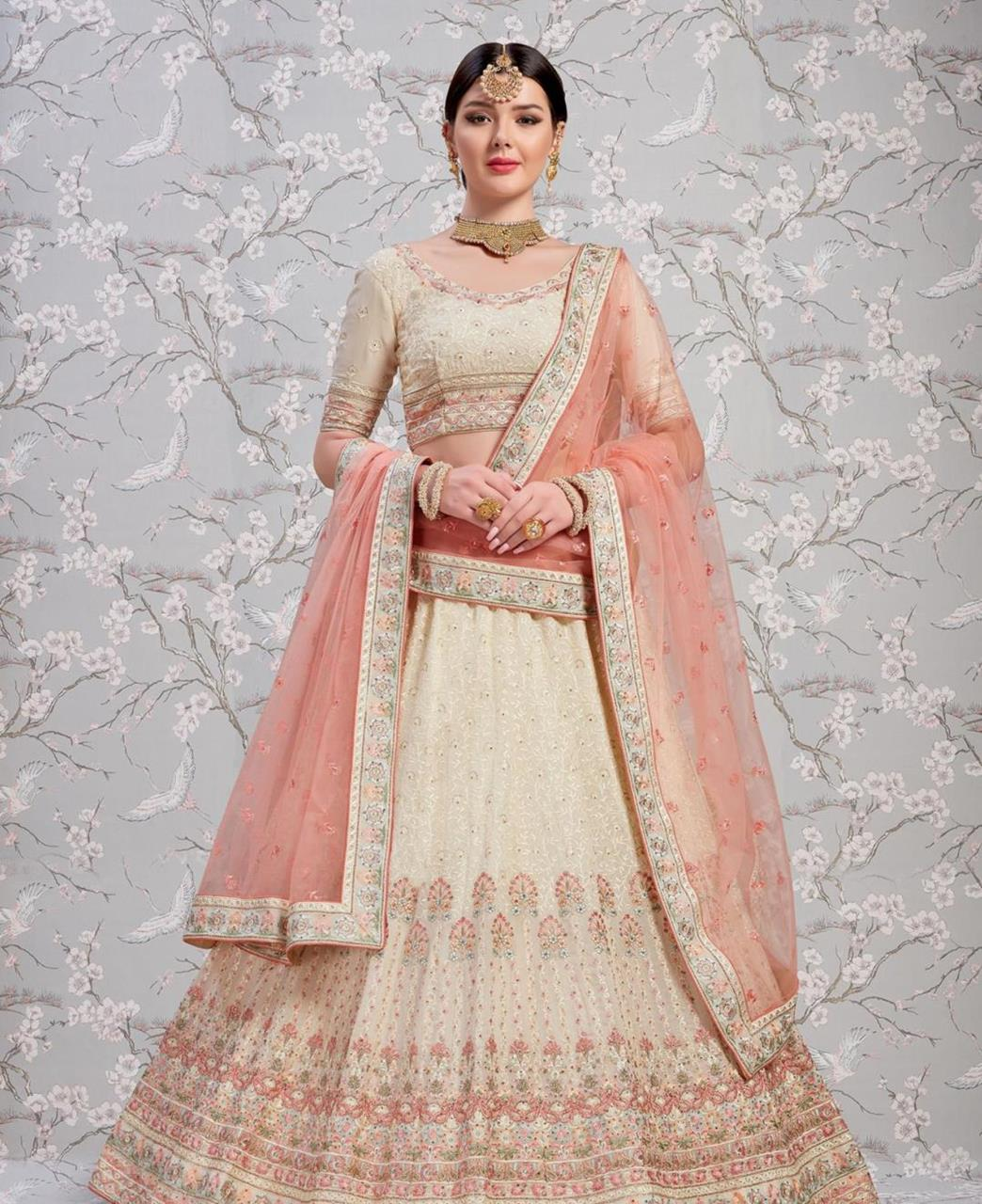 Thread Georgette Lehenga in Off White