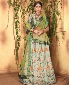 Printed Satin Lehenga in Green