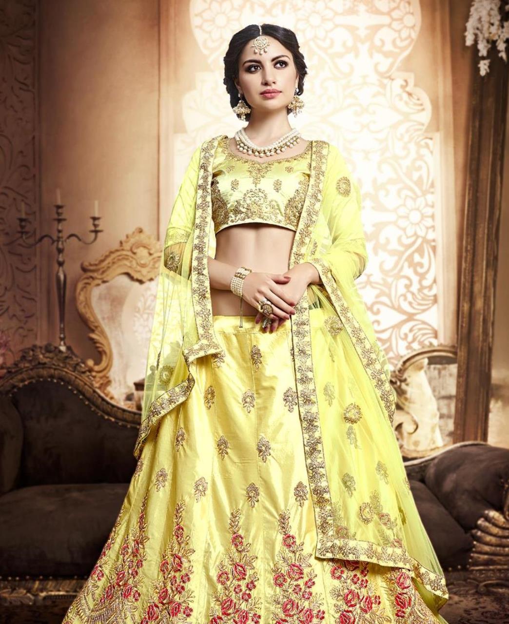 Embroidered Silk Yellow A Line Lehenga Choli Ghagra