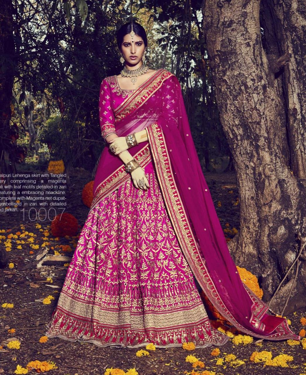 Embroidered Bhagalpuri Silk Magenta Long choli Lehenga Choli Ghagra