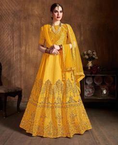 Sequins Silk Lehenga in Yellow