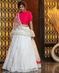 Cotton Lehenga in Rani