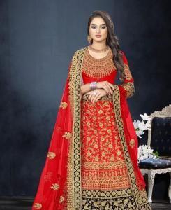 Resham Satin Lehenga in Designer Red Bridal Wedding Lehenga