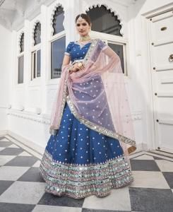 Embroidered Silk Lehenga in Blue
