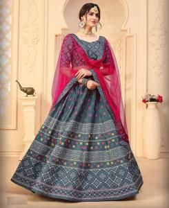 Printed Silk Lehenga in Grey