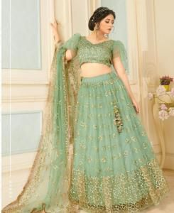 Sequins Net Lehenga in Sea Green