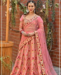 Resham Silk Lehenga in Pestal Pink