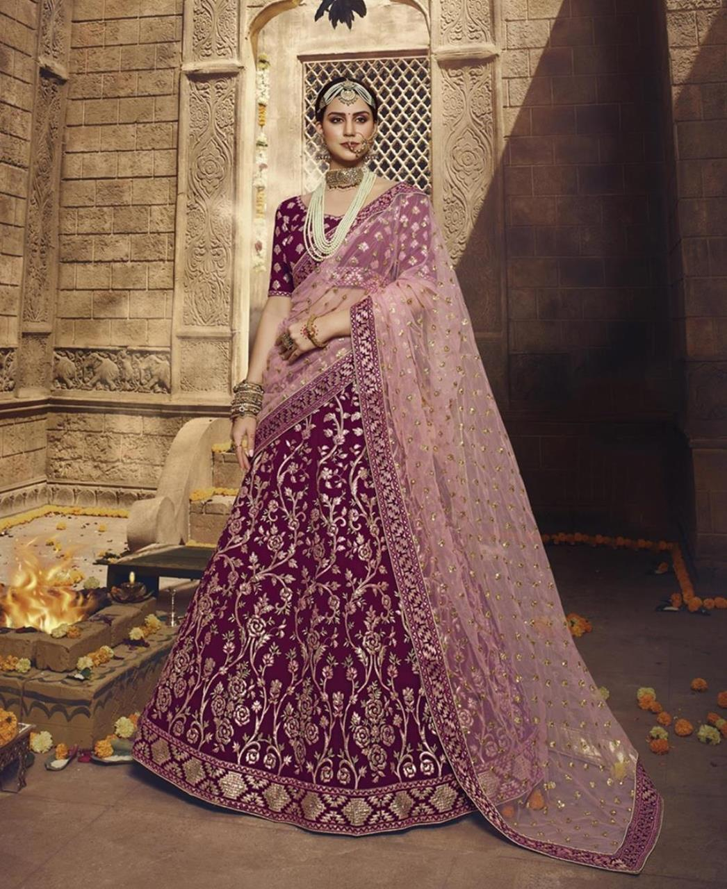 Thread Net Lehenga in Wine