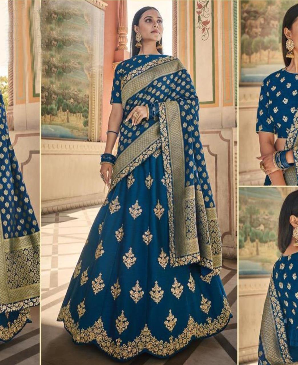 HandWorked Silk Lehenga in Blue