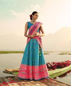Stone Work Silk Lehenga in Steel Blue