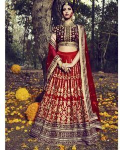 Embroidered Bhagalpuri Silk MAROON Long choli Lehenga Choli Ghagra