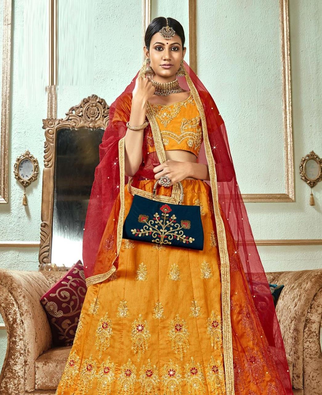 Stone Work Satin Lehenga in Yellow