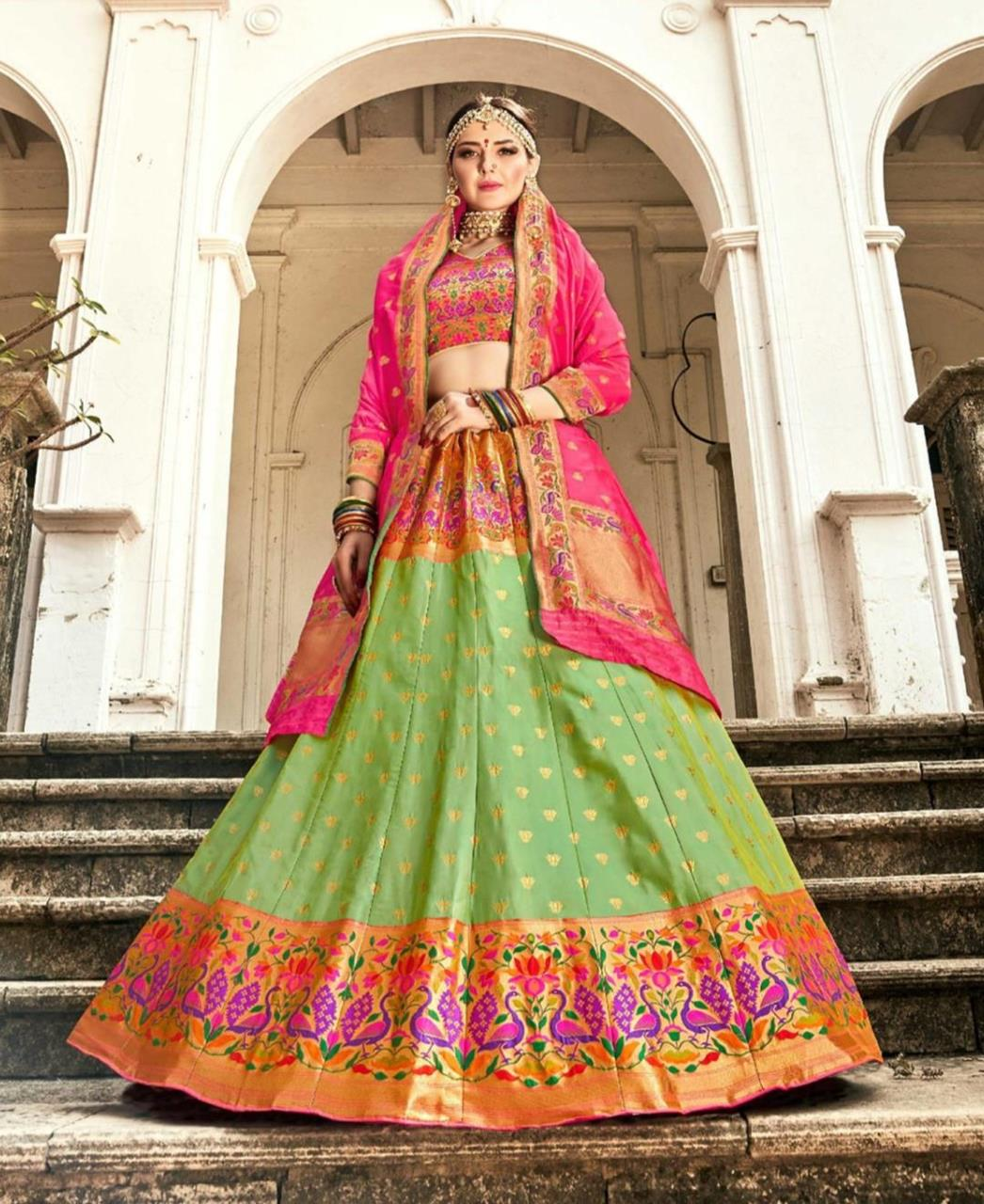 Silk Lehenga in Green  ,  Pink