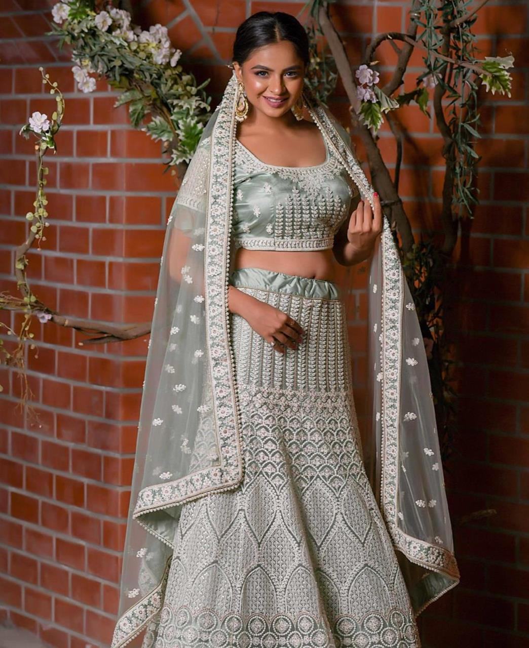 Embroidered Satin Lehenga in Grey