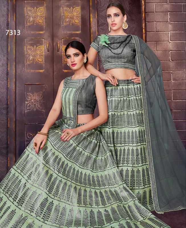 Printed Dupion Silk Green  A Line Lehenga Choli Ghagra