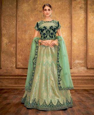 Cord Work Jacquard MINTCREAM Circular Lehenga Choli
