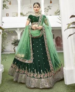 HandWorked Silk Lehenga in Green