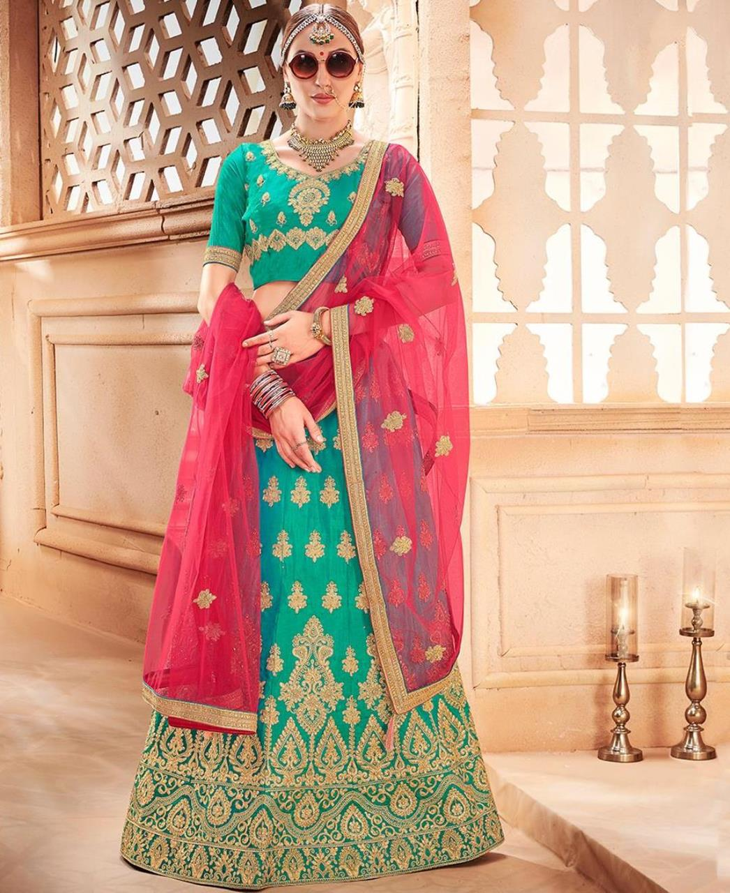 Embroidered Silk SEAGREEN Circular Lehenga Choli