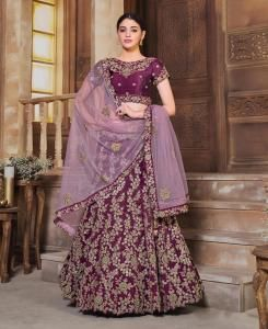 Resham Silk Lehenga in Wine
