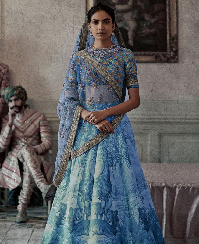 Printed Silk Blue Circular Lehenga Choli