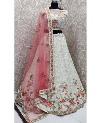 Embroidered Net White Circular Lehenga Choli