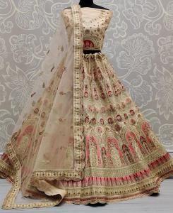 Thread Silk Lehenga in Beige