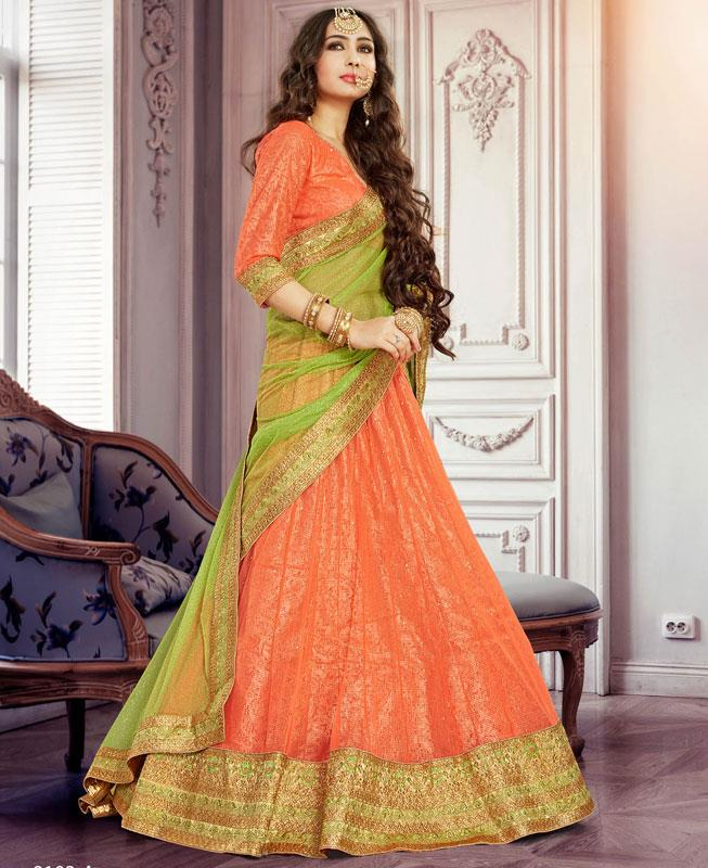Border Work Net Orange Long choli Lehenga Choli Ghagra