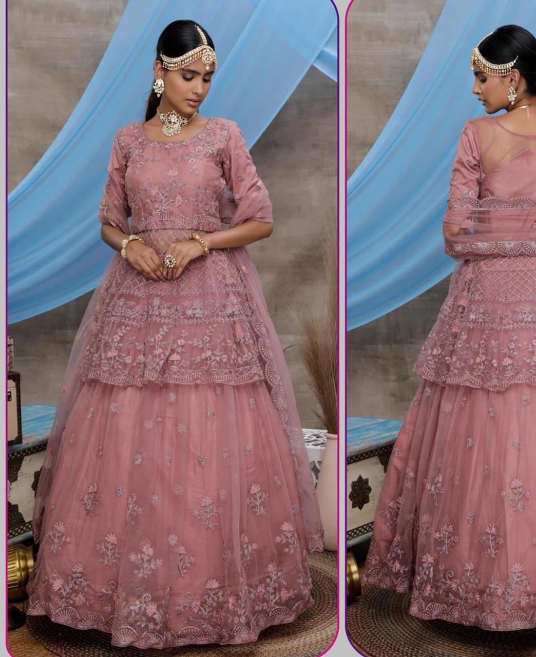 Thread Net Lehenga in Dusty Pink