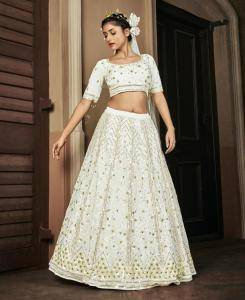 Embroidered Georgette Lehenga in Pearl White