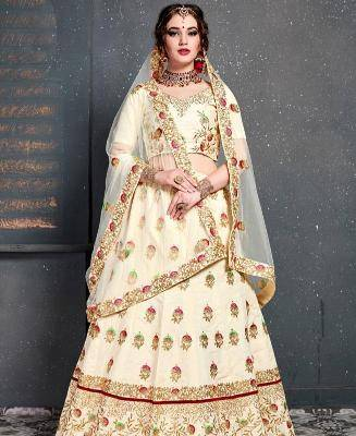 Thread Work Silk Cream Circular Lehenga Choli