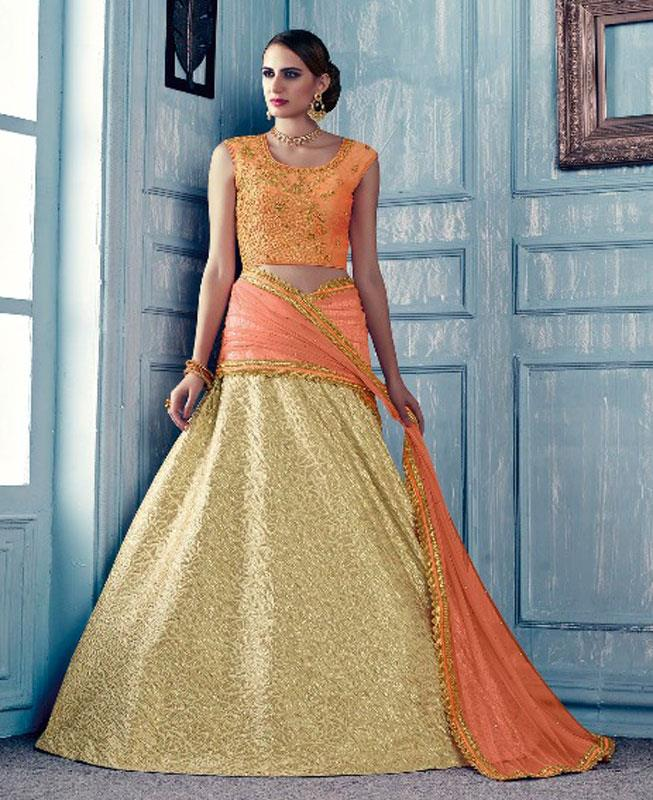 Plain Jacquard Orange Circular Lehenga Choli Ghagra