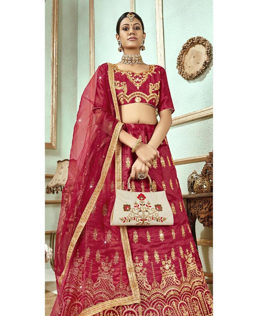Stone Work Satin Lehenga in Maroon