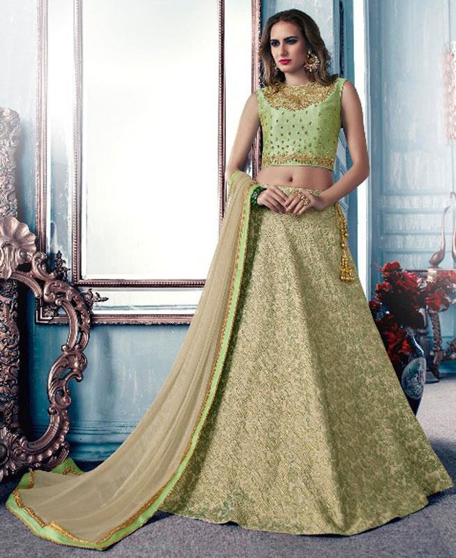 Plain Jacquard Green Circular Lehenga Choli Ghagra