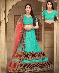 Silk Lehenga in Skyblue