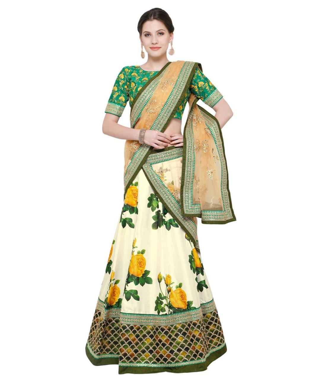 Embroidered Bangalore Silk Green Long choli Lehenga Choli Ghagra
