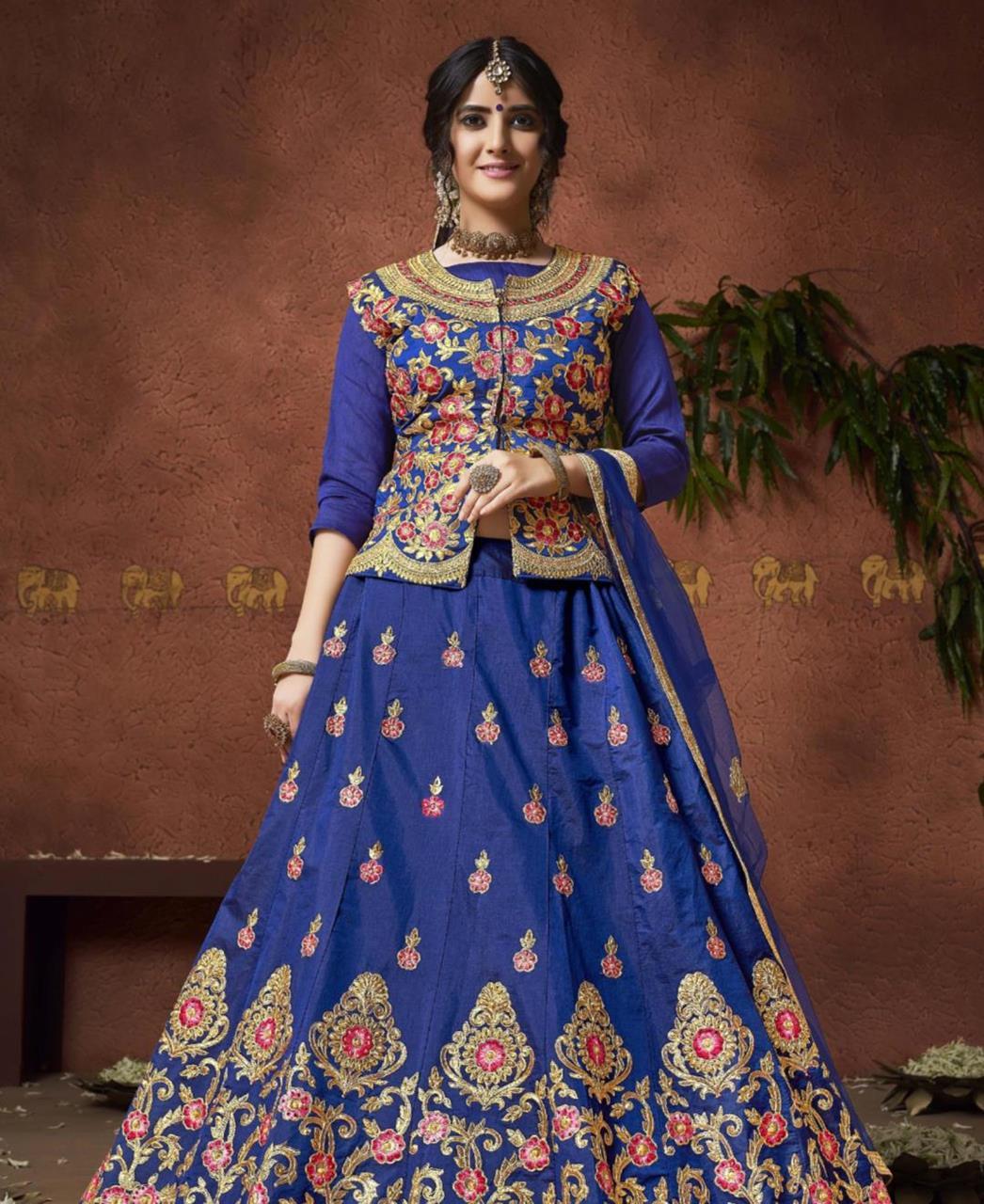e898d4934a Embroidered Silk Blue Long choli Lehenga Choli Ghagra