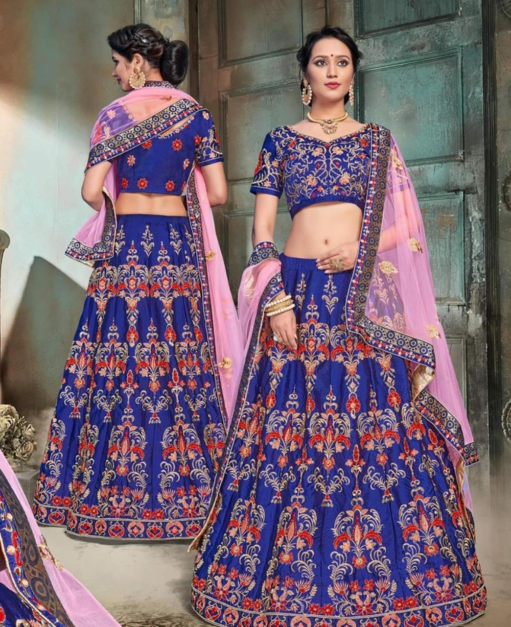 Embroidered Satin Blue Circular Lehenga Choli Ghagra
