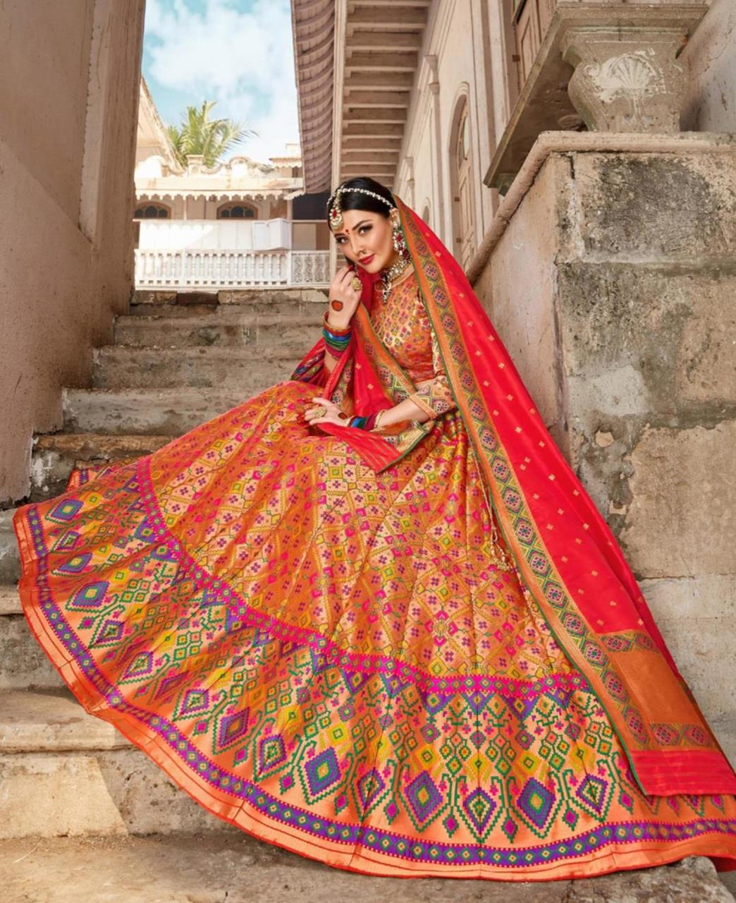 Silk Lehenga in Orange  ,  Pink