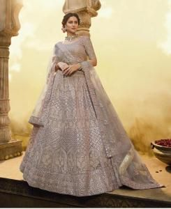 Thread Net Lehenga in Onion