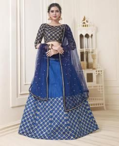 Lace Silk Lehenga in Nevy Blue