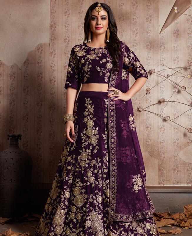 Embroidered Velvet Purple Circular Lehenga Choli