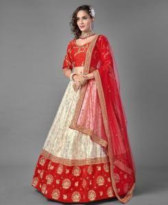 Zari Silk Lehenga in Red